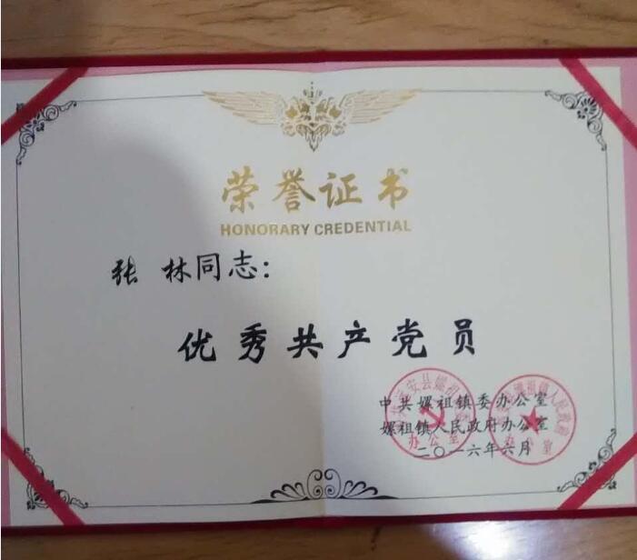 """磷复肥公司张林同志获评""""嫘祖镇优秀共产党员""""称号"""